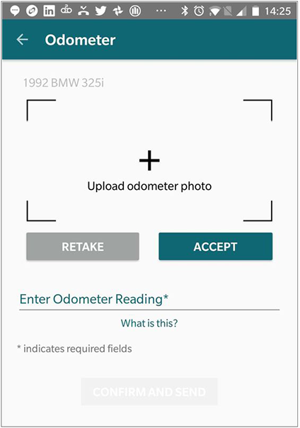 Screenshot of odometer reading page used to report mileage. Participants reported miles by submitting odometer photos via smartphone, tablet, or other mobile device.